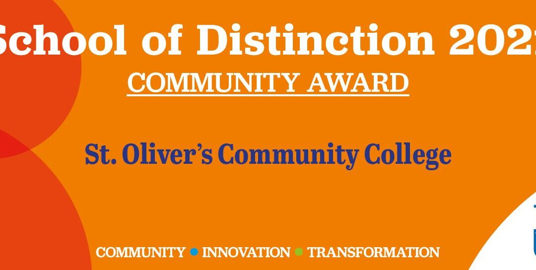 St. Oliver's Community College wins School of Distinction: Community Award from Trinity College Dublin